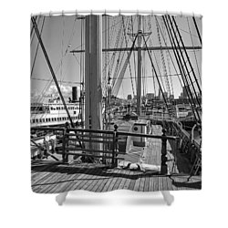 Deck Of Balclutha 3 Masted Schooner - San Francisco Shower Curtain by Daniel Hagerman