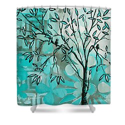 Decorative Abstract Floral Birds Landscape Painting Bird Haven I By Megan Duncanson Shower Curtain by Megan Duncanson