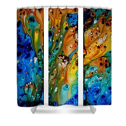 Deep Visions - Abstract Modern Contemporary Art Painting Shower Curtain by Sharon Cummings