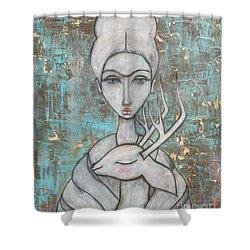Deer Frida Shower Curtain by Natalie Briney