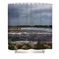 Deer Point Dam Shower Curtain by Debra Forand