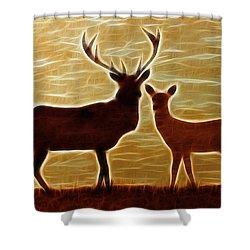 Deers Lookout Shower Curtain by Georgeta Blanaru
