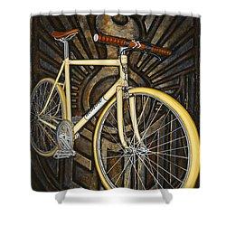 Demon Path Racer Bicycle Shower Curtain by Mark Howard Jones