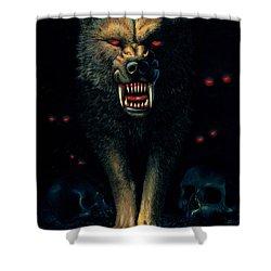 Demon Wolf Shower Curtain by MGL Studio - Chris Hiett
