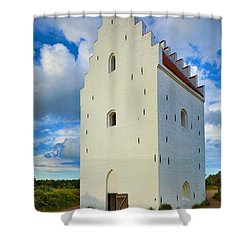 Den Tilsandede Kirke Steeple Shower Curtain by Inge Johnsson