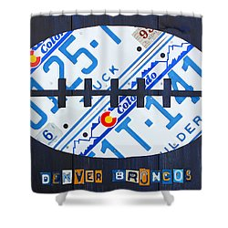 Denver Broncos Football License Plate Art Shower Curtain by Design Turnpike