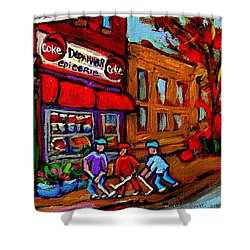 Depanneur  Marche Epicerie Montreal Summer Street Hockey Painting South West City Scene Shower Curtain by Carole Spandau