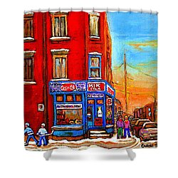 Depanneur Marche Fruits Verdun Restaurant Smoked Meat Deli  Montreal Winter Scene Paintings  Hockey  Shower Curtain by Carole Spandau