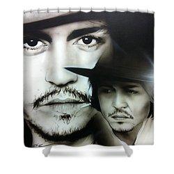 Johnny Depp - ' Depp ' Shower Curtain by Christian Chapman Art