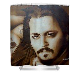 Johnny Depp - ' Depp II ' Shower Curtain by Christian Chapman Art