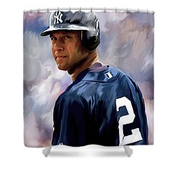 Derek Jeter  Shower Curtain by Iconic Images Art Gallery David Pucciarelli