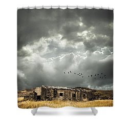 Derelict Rural Building Shower Curtain by Amanda Elwell