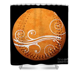 Designer Orange Baseball Square Shower Curtain by Andee Design