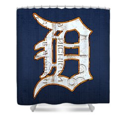 Detroit Tigers Baseball Old English D Logo License Plate Art Shower Curtain by Design Turnpike