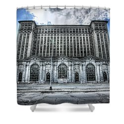 Detroit's Abandoned Michigan Central Train Station Depot Shower Curtain by Gordon Dean II