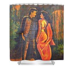 Dhak Dhak Shower Curtain by Usha Shantharam