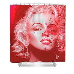 Marilyn Monroe - ' Dia De Los Monroe ' Shower Curtain by Christian Chapman Art