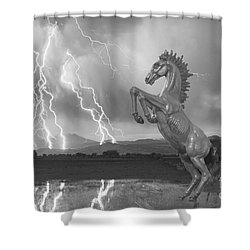 Dia Mustang Bronco Lightning Storm Bw Shower Curtain by James BO  Insogna