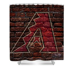 Diamondbacks Baseball Graffiti On Brick  Shower Curtain by Movie Poster Prints