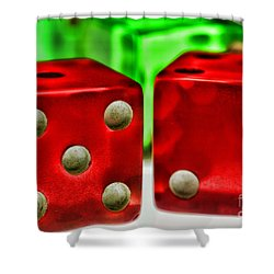 Dice - Lucky Seven Shower Curtain by Paul Ward