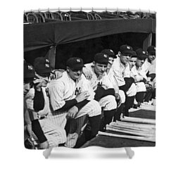 Dimaggio In Yankee Dugout Shower Curtain by Underwood Archives