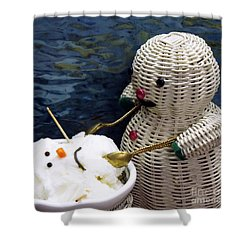 Dinnertime . Et Tu Snowman? Shower Curtain by Renee Trenholm