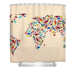 Dinosaur Map Of The World  Shower Curtain by Mark Ashkenazi
