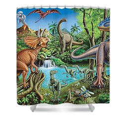 Dinosaur Waterfall Shower Curtain by Mark Gregory