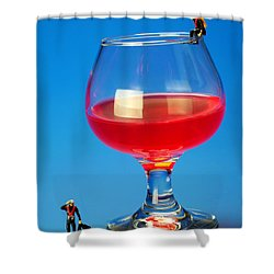 Diving In Red Wine Little People Big Worlds Shower Curtain by Paul Ge