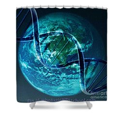 Dna Globe Shower Curtain by PainterArtist FIN