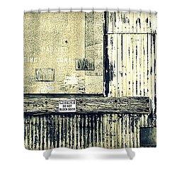 Do Not Block Door Shower Curtain by Valentino Visentini