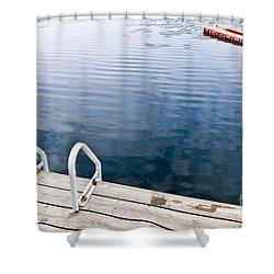Dock On Calm Summer Lake Shower Curtain by Elena Elisseeva