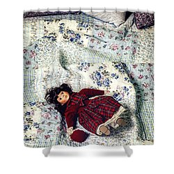 Doll On Bed Shower Curtain by Joana Kruse