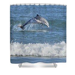Dolphin In Surf Shower Curtain by Bradford Martin