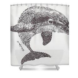 Dolphin Shower Curtain by Michael  Volpicelli