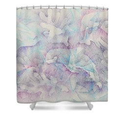 Dolphins At Play Shower Curtain by Veronica Rickard