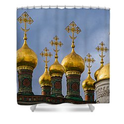 Domes Of The Church Of The Nativity Of Moscow Kremlin - Featured 3 Shower Curtain by Alexander Senin