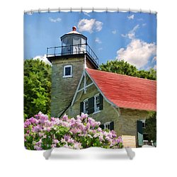 Door County Eagle Bluff Lighthouse Lilacs Shower Curtain by Christopher Arndt