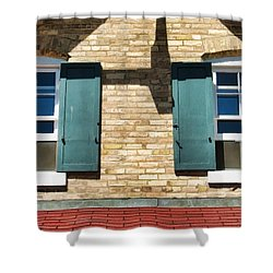 Door County Eagle Bluff Lighthouse Shutters Shower Curtain by Christopher Arndt
