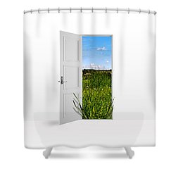Door To Nature Shower Curtain by Aged Pixel