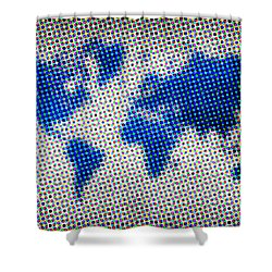 Dotted Blue World Map Shower Curtain by Naxart Studio