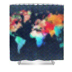 Dotted World Map 1 Shower Curtain by Naxart Studio