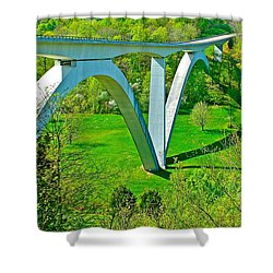 Double-arched Bridge Spanning Birdsong Hollow At Mile 438 Of Natchez Trace Parkway-tennessee Shower Curtain by Ruth Hager