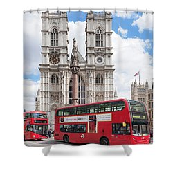 Double-decker Buses Passing Shower Curtain by Panoramic Images