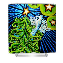 Dove And Christmas Tree Shower Curtain by Genevieve Esson