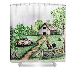 Down On The Farm Shower Curtain by Lena Auxier