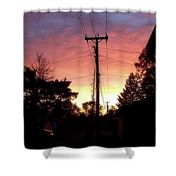 Down The Alley Sunrise Shower Curtain by Thomas Woolworth