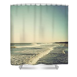 Down The Shore - Seaside Heights Jersey Shore Vintage Shower Curtain by Terry DeLuco