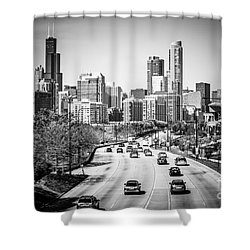 Downtown Chicago Lake Shore Drive In Black And White Shower Curtain by Paul Velgos