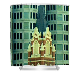 Downtown Dallas Shower Curtain by Janette Boyd